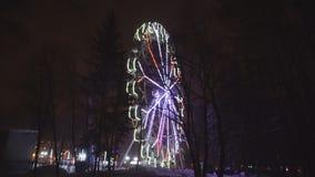 Reuzenrad die bij pretpark onder donkere nachthemel roteren stock video