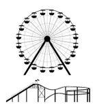 Reuzenrad en achtbaansilhouet Stock Fotografie