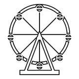 Reuzenradvermaak in park op van het de kleurenoverzicht van het aantrekkelijkheidspictogram het zwarte beeld van de de illustrati vector illustratie