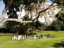 Reuzeschaakstukken in Tuin in Funchal op het Eiland Madera Portugal royalty-vrije stock fotografie