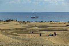 Reuzezandduinen van Maspslomas, Gran Canariam Spanje stock afbeeldingen