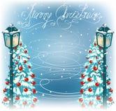 Revérbero do vintage do Natal e árvores da pele ilustração royalty free