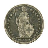 2 revés de la moneda 1991 del franco suizo aislado en el fondo blanco imágenes de archivo libres de regalías