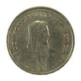 5 revés de la moneda 1968 del franco suizo aislado en el fondo blanco imagen de archivo libre de regalías