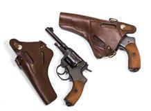Revólver branco da pistola das armas do fundo Imagem de Stock Royalty Free