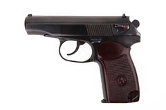 Revólver do soviete 9mm makarov isolado no fundo branco Imagens de Stock