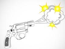 Revólver e explosão ilustração do vetor