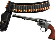 Revólver, um holster da correia e munição ilustração do vetor