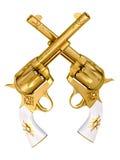 Revólveres del oro Fotografía de archivo libre de regalías