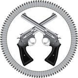Revólveres y balas stock de ilustración