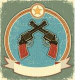 Revólveres y estrella occidentales del sheriff. Vendimia ilustración del vector