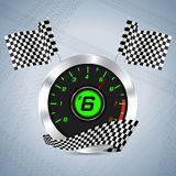 Rev counter with checkered flag Stock Photography