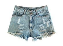 Rev sönder jeanskortslutningar Royaltyfria Bilder