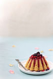 Revani cake with red berries Royalty Free Stock Image