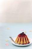 Revani kaka med röda bär Royaltyfri Bild