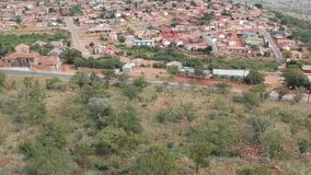 Reveal of a township in Pretoria stock footage