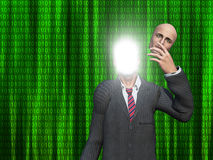 Reveal. Man removes face to reveal inner light before binary streams Stock Photo