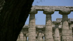 Revealing an Ancient Greek Temple from behind a Tree stock video footage