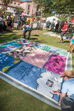 Revealing Section of AIDS Quilt at ceremony Stock Photo