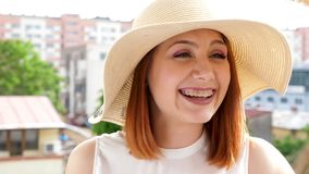 Revealing shot gorgeous redhair woman laughing while talking to her friend. Slow motion footage. Close up stock video