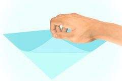Reveal What is Underneath Paper Illustration. A hand revealing the secret message on a piece of paper Royalty Free Stock Photos