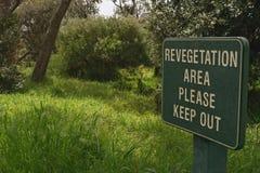 Revegetation area sign Royalty Free Stock Photos