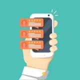 Reveja os discursos na ilustração do vetor do telefone celular, estrelas lisas da bolha da avaliação das revisões do smartphone d Imagem de Stock Royalty Free