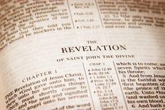 Revelation. Bible open to Revelation Royalty Free Stock Photo