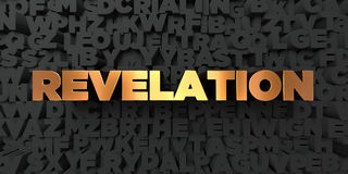 Revelation - Gold text on black background - 3D rendered royalty free stock picture. This image can be used for an online website banner ad or a print postcard royalty free illustration
