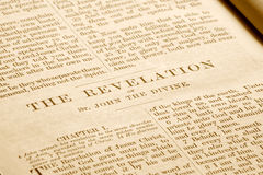 Revelations in an old bible. Royalty Free Stock Photo
