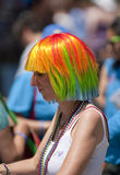 Revelers with coloured hair on the procession. At the Toronto Gay Pride Festival Stock Photos
