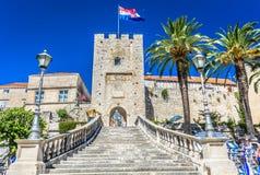 Revelin塔在镇Korcula,克罗地亚里 免版税库存图片