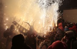 Correfoc in palma during saint sebastian local patron festivities royalty free stock photos