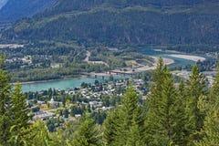 Revelstoke Townsite and the Columbia River Revelstoke British Columbia Canada Stock Photos