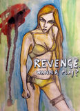 Revenge. Watercolor drawing of a woman body. Revenge: Wanna play Royalty Free Stock Image