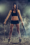 Revenge From Woman With Sword Stock Images