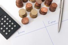 Revenu et diagramme de dépenses avec le stylo une calculatrice Photos stock