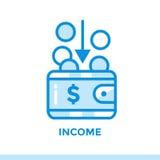 REVENU linéaire d'icône des finances, encaissant Approprié aux apps mobiles Images stock