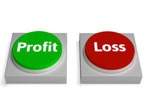 Revenu ou déficit d'exposition de boutons de perte de bénéfice Photographie stock