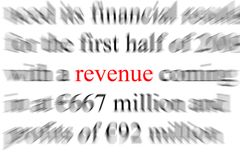 Revenue. Abstract blurry image of the word Revenue Stock Photos