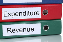Revenue and expenditure account finances in company business con Stock Image