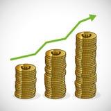 Revenue growth increasing graph money trending icon stock illustration