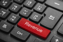 Revenue word on red keyboard button Stock Images