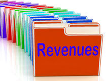 Revenues Folders Mean Business Income And Earnings Stock Images