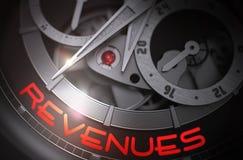 Revenues on the Luxury Men Wrist Watch Mechanism. 3D. Stock Photography