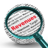 Revenues Magnifier Definitions Shows Financial Growth Or Improve. Revenues Magnifier Definitions Showing Financial Growth Achievement Or Improvement Royalty Free Stock Photography