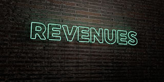 REVENUES -Realistic Neon Sign on Brick Wall background - 3D rendered royalty free stock image. Can be used for online banner ads and direct mailers vector illustration