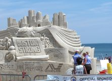 Revere Beach National Sand Sculpting Festival. Boston, MA/USA-July 19 2013-The theme `Boston Strong` in Revere Beach National Sand Sculpting Festival royalty free stock photos