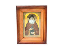 Reverend Ilya, an orthodox icon in a wooden frame. Isolated on white background Royalty Free Stock Image