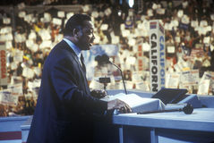 Reverend Jesse Jackson. Addresses crowd at the 2000 Democratic Convention at the Staples Center, Los Angeles, CA Stock Photo